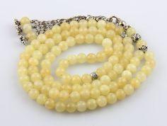 Small Calcite gemstone 33pcs Islamic Prayer Beads Misbaha Tesbih Kombolo from Turkey