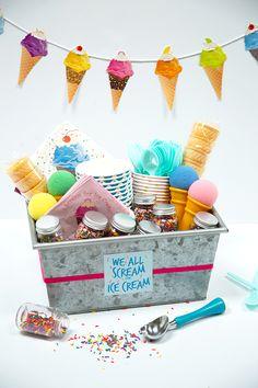 Free Printable Ice Cream Gift Basket Tag – Alice and Lois – Gift Basket Ideas Raffle Gift Basket Ideas, Raffle Baskets, Gift Ideas, Theme Baskets, Themed Gift Baskets, Teacher Appreciation Gifts, Teacher Gifts, Summer Gift Baskets, Kids Gift Baskets