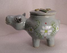 Happy The Hippo Folk Pot – Animal Face Jug – Spice Jar – Effigy Jar | eBay