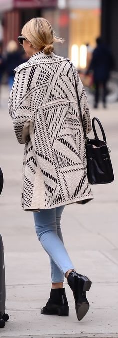 Gigi Hadid casual style | Tory Burch jacket.