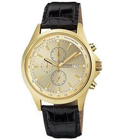 Citizen Watch, Men's Chronograph Black Leather Strap 44mm AN3512-03P $99 Macys