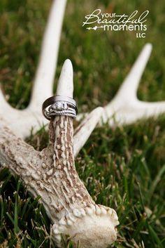 Deer Antler Wedding Decorations | Wedding rings and deer antler | Your Beautiful Moments LLC wedding ...