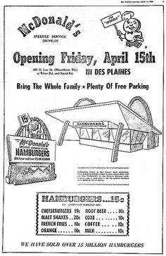 April 14th 1955 Ad For Ray Krocs First McDonalds Restauant in Des Plaines, IL by SA_Steve, via Flickr