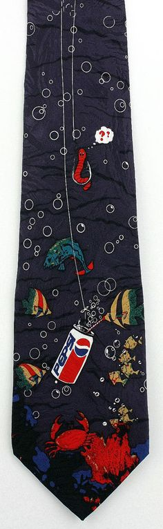 New Fishing With Pepsi Mens Necktie Cola Soda Pop Logo Fish Straw Drink Neck Tie #PepsiFondi #NeckTie