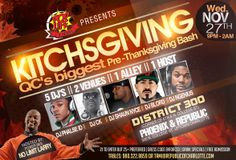 "Pop Life presents HAPPY KITCHSGIVING  ""QC'S BIGGEST PRE-THANKSGIVING BASH""  After the Bobcats & Pacers Game, all roads lead to Pop Life  Wednesday, Nov. 27 