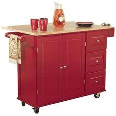 Found it at Wayfair - Wood Top Kitchen Cart in Red