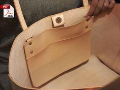 Modello di borsa in pelle (file PDF) Borsa in pelle (con come guidare) - Женские сумки - borse all'uncinetto Leather Bag Tutorial, Leather Bag Pattern, Tote Pattern, Purse Tutorial, Soft Leather Handbags, Brown Leather Totes, Leather Purses, Brown Handbags, Black Leather