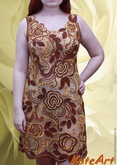 Платье летнее вязаное крючком Аромат корицы - платье вязаное,платье крючком