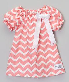 Look at this #zulilyfind! Coral Zigzag Peasant Top - Infant, Toddler & Girls by Baby & Me Designs #zulilyfinds