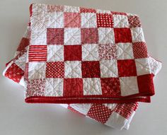 Red and White Patchwork Throw Quilt ~ Lap Quilt ~ Picnic Quilt
