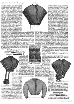 Der Bazar: Illustrirte Damen-Zeitung - Google Books November 1863..this is Tunisian crochet, but notice how the shape is similar to several of the original images posted
