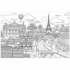 - Visite Paris Coloring Wall Mural - by Brewster Home Fashions Free Coloring Pages, Coloring Sheets, Coloring Books, Colouring, Travel Wall, Wall Stickers, Wall Decal, Decals, 3d Prints