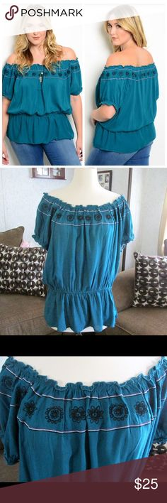 "On Sale!☀️Teal Boho Top☀️ Brand new. This top is perfect for any spring/summer occasion. It can be worn casually with jeans or formal with a pencil skirt.  i also do bundles, 15% off on 2 or more items from my closet (please use the bundle feature button to self bundle). Material: 100% Rayon  Measurements laying flat (left to right):  X- LARGE Bust/chest wide: 21""in.  Waist: 22""in.  Length/Outseam: 26"" in.   XXX- LARGE Bust/chest wide: 26"" in.  Waist: 25"" in.  Length/Outseam: 26"" in…"