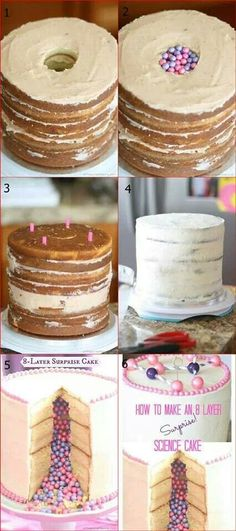 8 layer surprise cake. Would be cute for a gender reveal cake