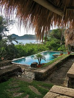 Swimming Pool Ideas : Pool and ocean view from lodge, Morgan's Rock, Nicaragua Outdoor Pool, Outdoor Spaces, Outdoor Living, Beautiful Pools, Beautiful Places, Mini Pool, Dream Pools, Tropical Houses, Tropical Backyard