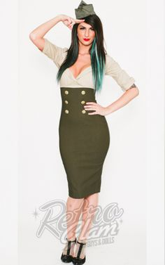 Retro Glam - PinUp Couture Military Secretary Tan and Olive Green Wiggle Dress  I NEED THIS