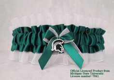 Are you or your husband alumni from MSU? Show some Spartan love and add something unique to your big day with this Michigan State University wedding garter! Michigan State University, Michigan State Spartans, Wedding Day Inspiration, Wedding Ideas, Msu Spartans, Sports Wedding, Beautiful Wedding Venues, Waiting For Her, Wedding Garter