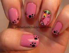 Pink Panther cartoon nails paw prints or toe prints . either are adorable Fancy Nails, Cute Nails, Pretty Nails, Nail Polish Designs, Cute Nail Designs, Fingernails Painted, Wow Nails, French Acrylic Nails, Manicure E Pedicure