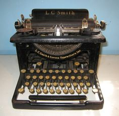 L.C. Smith & Corona #smithcorona #typewriters.  weird.  scrolling through pinterest and i found the typewriter i have in my dining room!  isn't it pretty?