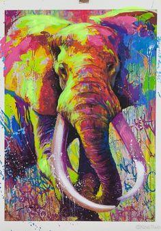 Noé Two est un artiste né en 1974, originaire de Paris. Il grandit à deux pas du terrain vague de la... Abstract Animals, Watercolor Animals, Arte Elemental, Tableau Pop Art, Street Art, Art Gallery, Thai Art, Elephant Art, Art Abstrait