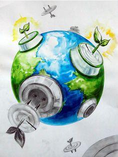 2016 계명대학교 실기대회 수상작/복현 창조의 아침 : 네이버 블로그 Save Environment Posters, Environment Painting, Energy Conservation Poster, Save Water Poster Drawing, Save Earth Drawing, Meaningful Drawings, Earth Drawings, Poster Competition, Composition Art