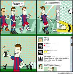 El fútbol trae de cabeza a propios y extraños… Hasta los futbolistas son socialholics!!! #humor (pinned by @ricardollera)