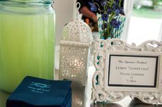 """Love a signature cocktail at the wedding, it gives it a personal touch!  The grooms last name is Schmitt...signature cocktail is a Lemon """"Scmitzer."""""""