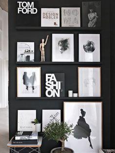 wandgestaltung-schwarz-weiß-wohnzimmer-einrichten-akzentwand, Hause deko