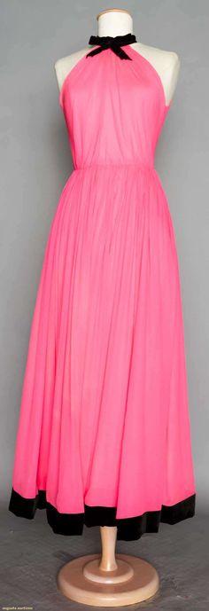 "BALMAIN COUTURE EVENING DRESS, 1960's New York City Bubblegum pink plisse chiffon, cut in arm holes, black velvet ribbon tie at neck, full gathered skirt w/ velvet ribbon trimmed hem, label ""Pierre Balmain Paris"", couture tape """