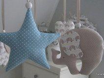 Mobile  -  Elefanten,Herzen,Sterne beige,blau