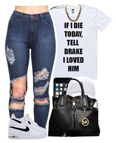 """tell drake"" by yeauxbriana ❤ liked on Polyvore featuring Nicki Minaj, MICHAEL Michael Kors and NIKE"