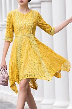 Fall and Spring and Summer No Floral Round Mid-Calf A-Line Outer Cocktail Cute Round Neck Irregular Hem Lace Skater Dress Skater Dress, Dress Skirt, Dress Up, Casual Dresses, Fashion Dresses, Midi Dresses, Homecoming Dresses, Prom, Yellow Lace Dresses