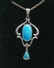 Antique 1912 CHARLES HORNER Edwardian Blue Enamel Silver Pendant & Chain
