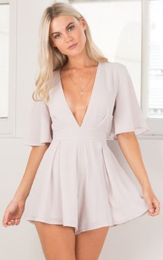 Showpo Break The Bar playsuit in pale mauve - 6 (XS) Rompers & Cute Dresses, Casual Dresses, Short Dresses, Women's Fashion Dresses, Girl Fashion, Fashion Clothes, Look Blazer, Cute Summer Outfits, Girl Clothing