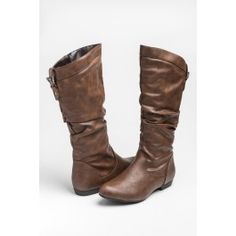Reddish brown leather pointy slouch boots