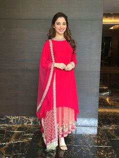 Tamannaah Bhatia in Red Double Layered Anarkali Churidar Suit Party Wear Indian Dresses, Designer Party Wear Dresses, Indian Gowns Dresses, Indian Fashion Dresses, Kurti Designs Party Wear, Dress Indian Style, Indian Outfits, Chiffon Dresses, Mini Dresses