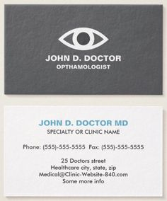 Opthamologist Or Optometrist Gray Business Card Zazzle Com Medical Business Card Doctor Business Cards Personal Business Cards
