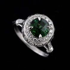 14k White Gold Pave Burnish Set Diamond Cabochon Green Tourmaline Art Deco Style Engagement Ring $1,439.00 by www.Orospot.com