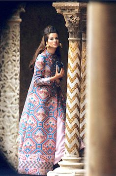 Model in Valentino evening coat, photo Henry Clarke, 1967