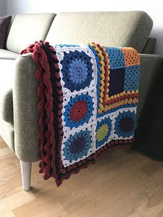 My second blanket made from this pattern, and I'm certain there will be even more. Fun and easy to crochet, and easy to bring along when working on the squares. Crochet Shawl, Afghans, All The Colors, Ravelry, Cravings, Scrap, Blanket, Projects, Pattern