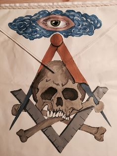 Hand painted Masonic Apron
