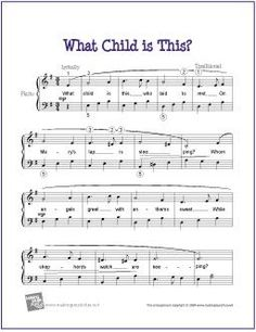 What Child is This? (Christmas) | Free Sheet Music for Easy Piano - http://makingmusicfun.net/htm/f_printit_free_printable_sheet_music/what-child-is-this-piano-solo.htm