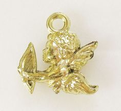 VTG Gold Celluloid Valentine Cherub Angel CRACKER JACK Prize Premium Charm Toy #crackerjack