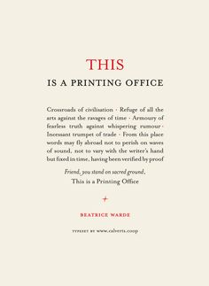 beatrice warde - this is a printing office