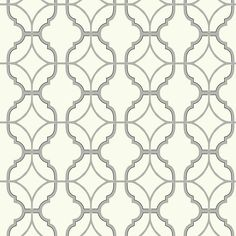 Lattice Wallpaper in Grey and White design by Carey Lind for York Wallcoverings