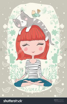Cute girl with cat/cute cat illustration for apparel/Book illustrations for children/T-shirt Graphic/Girl with flowers/Romantic hand drawing poster/cartoon character/children art/animal love