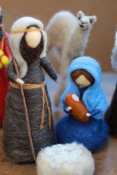 Christmas dolls Needle felted: Nativity set (Marie,Joseph and Jesus) Felt Christmas Ornaments, Christmas Nativity, Christmas Crafts, Needle Felted Ornaments, Waldorf Crafts, Needle Felting Tutorials, Felt Fairy, Needle Felted Animals, Felt Toys