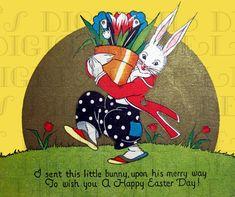 Gorgeous Volland VINTAGE Easter Illustration. Easter BUNNY DIGITAL Download. Vintage Easter Print. on Etsy, $1.99