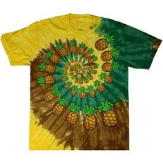 This tie dye t-shirt is dyed in beach colors and also contains screen printed pineapples in the swirl. Spiral Tie Dye, Beach Color, Tie Dye Shirts, Tie Dyed, Screen Printing, Pineapple, Plus Size, Diy Crafts, Printed