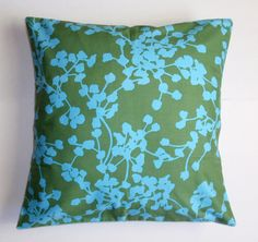"""Throw Pillow Cover, Accent Pillow, Decorative Seagreen Cushion, Blue & Green Graphic Floral Pillow Cover, Amy Butler Fabric, 16x16"""" Square by PersnicketyHome on Etsy https://www.etsy.com/listing/32375351/throw-pillow-cover-accent-pillow"""